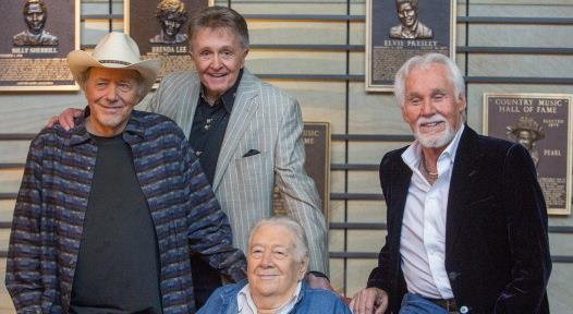 BILL ANDERSON WITH BOBBY BARE, KENNY ROGERS AND COWBOY JACK CLEMENT 2013 COUNTRY MUSIC HALL OF FAME INDUCTEES ANNOUNCEMENT (PHOTO)